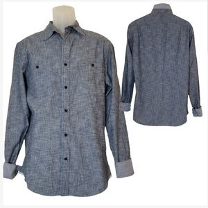 Banana Republic Chambray w/ Gingham Cuffs